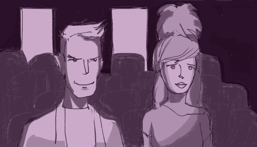 Nathaniel and Dorothy watch Clarence's audition. (Storyboard drawn by Monte Patterson).