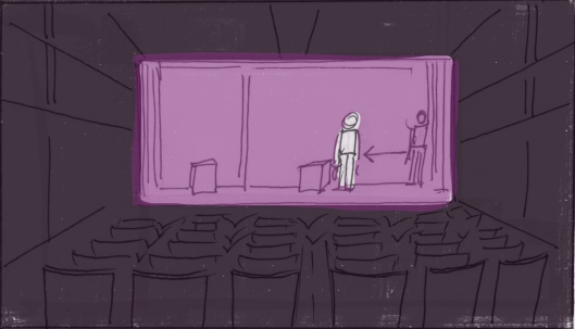 Lights flip on. Nathaniel enters the stage...alone. (Storyboard drawn by Monte Patterson)