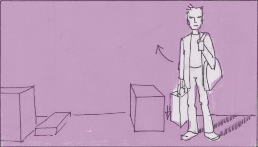 Nathaniel, carrying a bag of groceries, looks around the stage wistfully. (Storyboard drawn by Monte Patterson).