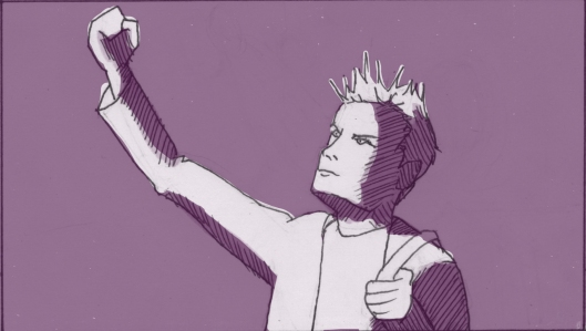 """Nathaniel raises his fists in mock triumph saying, """"Enter Stage Right. A young man, full of hope, crosses to the most beautiful woman he's ever seen."""" He holds back tears as he says the line, ironically. (Storyboard drawn by Monte Patterson)."""