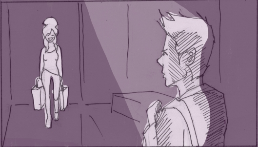 """Dorothy enters from backstage, startling Nathaniel. He quickly gets out of his """"hero"""" pose. (Storyboard drawn by Monte Patterson)."""
