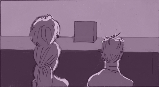 Nathaniel and Dorothy prepare to watch an audition. (Storyboard by Monte Patterson).