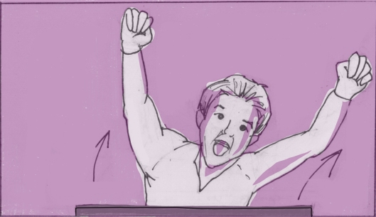 From behind the cube, Eli pops out, finishing his audition with a flourish. (Storyboard by Monte Patterson).
