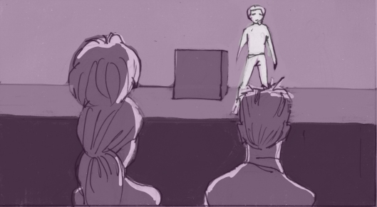 Eli looks for approval after his audition. (Storyboard drawn by Monte Patterson).