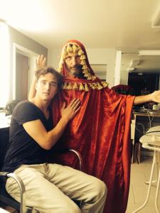 "Sammy Kusler as ""Moses"" with star Blake Sheldon the last day of our shoot - fun is important on a movie set!"