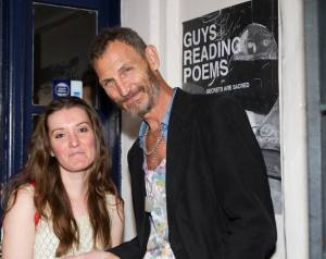 "Sammy Kusler with Florenca Perona (costumes) on the set of ""Guys Reading Poems."""