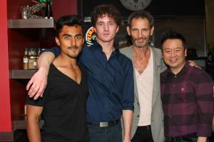 "Co-producer Sammy Kusler with ""Guys Reading Poems"" stars Gopal Divan, Blake Sheldon and Rex Lee."
